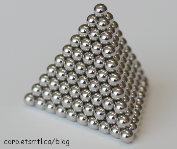 The pyramid is one of the most difficult shapes to build with ball magnets
