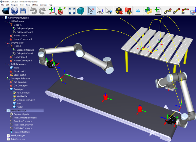 Screen capture of RoboDK showing two UR10 and a conveyor